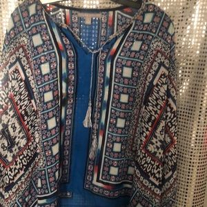 Poncho style blouse. Cute blue and pink.